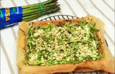 tarte filo fine aux asperges pesto et feta