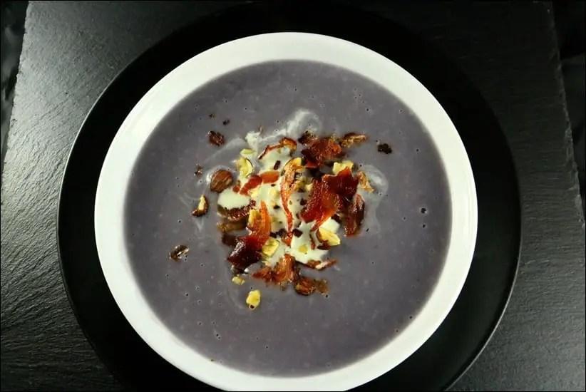 velouté vitelotte bacon noisettes