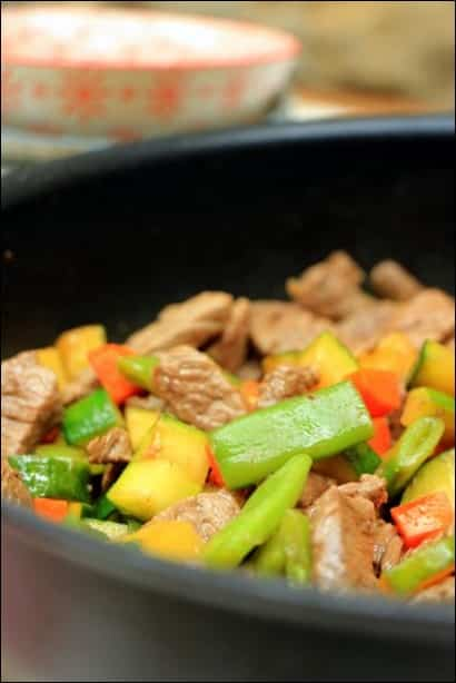 wok boeuf courgette