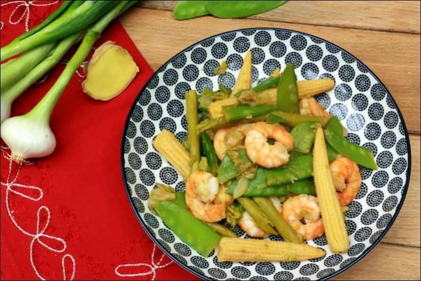 wok crevettes et legumes