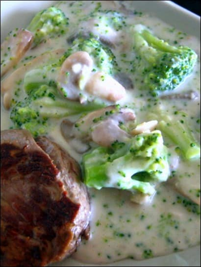 brocoli et champignon a la creme