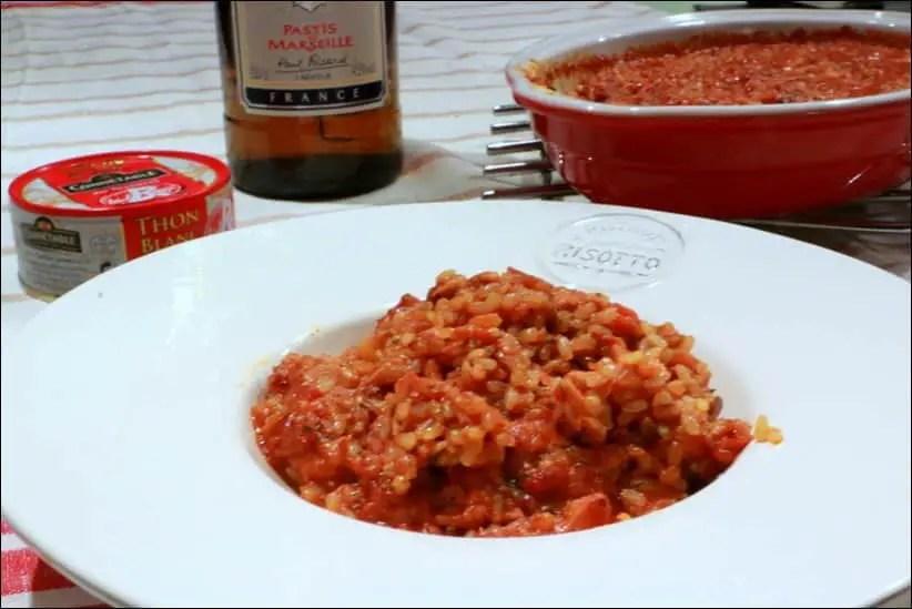 risotto anisé au thon en gratin