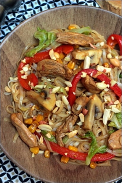 wok nouilles chinoises poulet sauce soja
