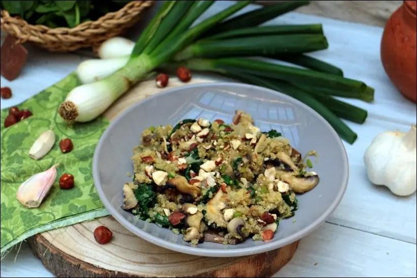 poêlée de champignons et épinards au quinoa