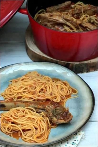 agneau avec spaghetti