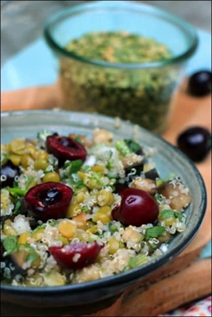 salade pois casses quinoa cerises