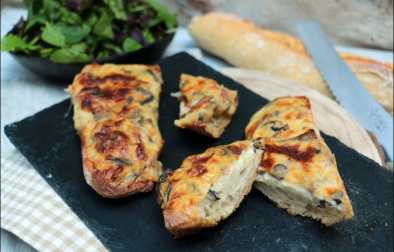 tartines gratinées aux lardons champignons et mozzarella