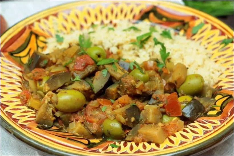 aubergine olives vertes