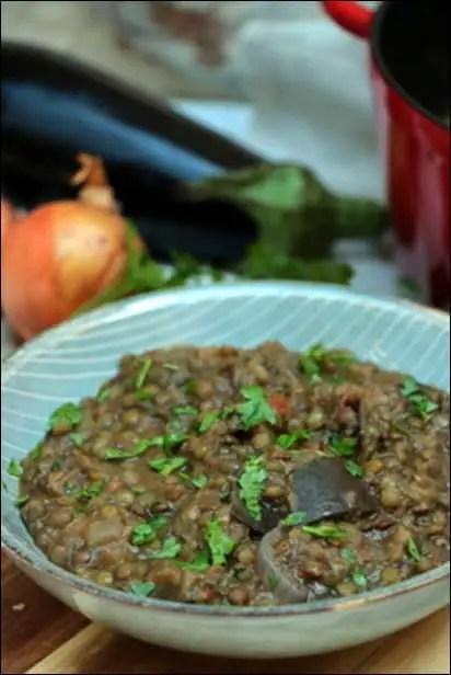lentilles coriandre aubergine