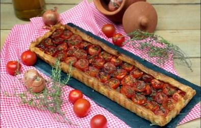 tarte fine à la tomate et échalotes confites