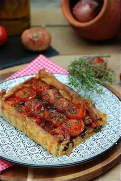 tarte tomate moutarde echalotes confites