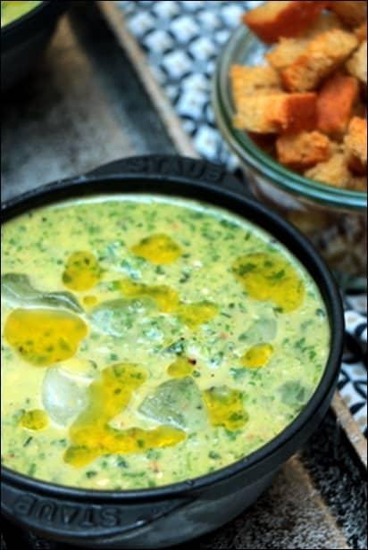 soupe froide basilic concombre