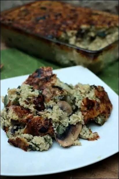 gratin quinoa courgette champignons
