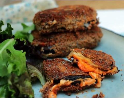 sandwichs d'aubergines à la mozzarella
