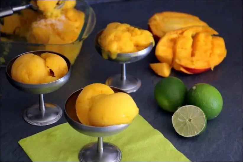 sorbet mangue sans lait