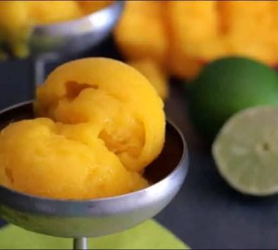sorbet à la mangue et citron vert