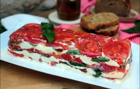terrine de tomate à la mozzarella et basilic