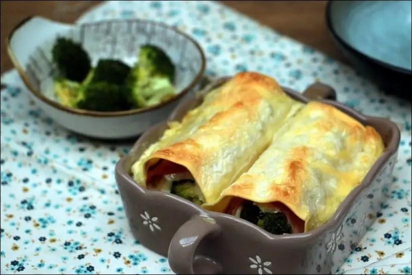 cannelloni chevre frais brocolis jambon