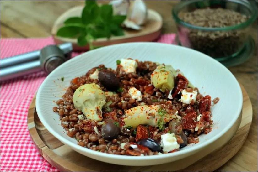 salade d'épeautre méditerranéenne au pesto