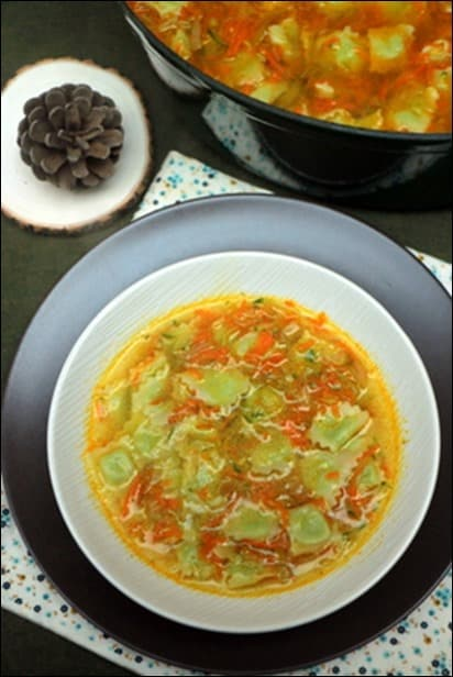 soupe ravioles poireau carottes courgettes
