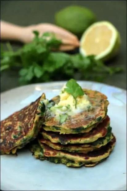 pancakes salés aux épinards