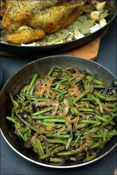 poelee haricots verts et champignons