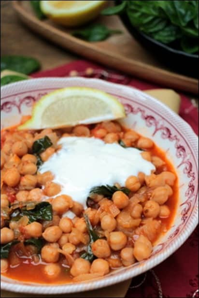 ragout de pois chiches aux epinards