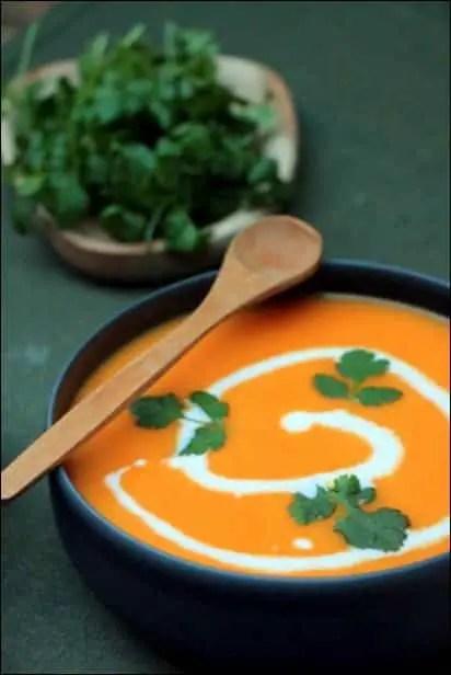 soupe carotte au lait de coco