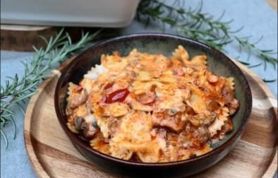 gratin de pâtes aux champignons et saucisse façon lasagnes