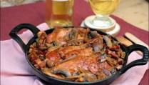 poulet aux champignons lardons échalotes et miel