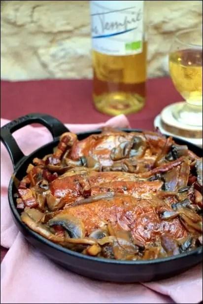 poulet champignon et vin blanc