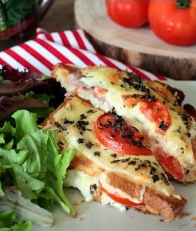 croque-monsieur au jambon tomate et mozzarella