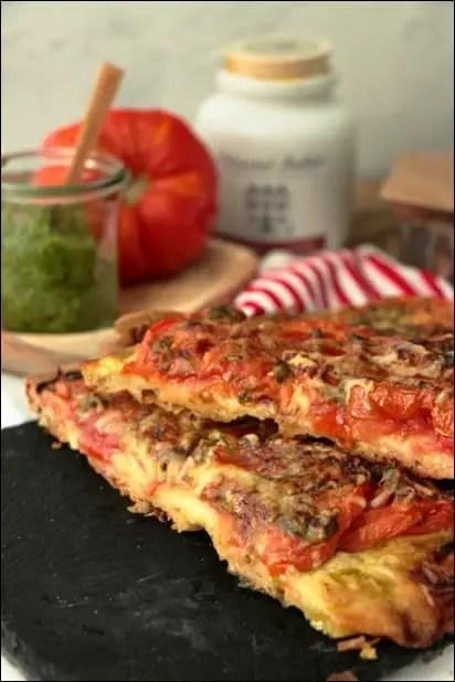 pizza tomate moutarde pesto