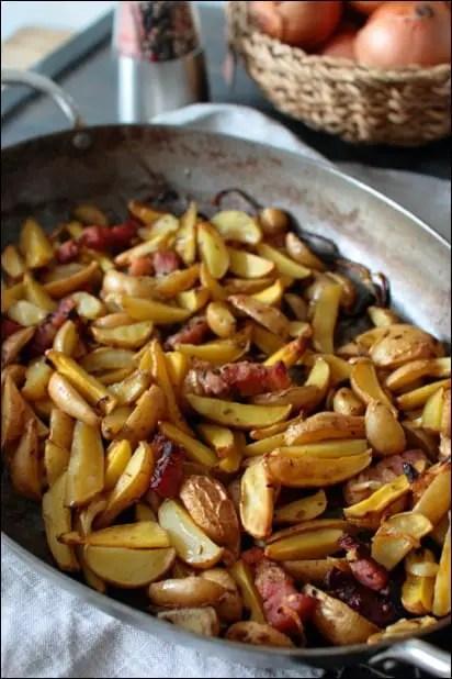 pomme de terre roties lardons