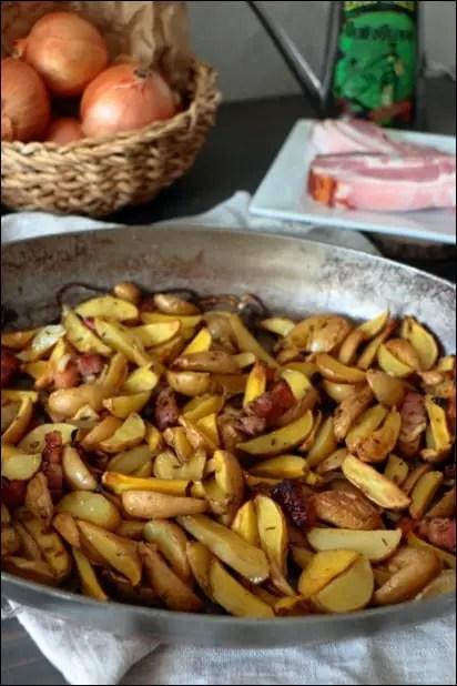 pomme de terre roties lardons oignon