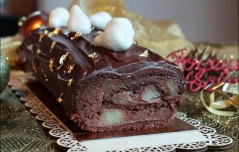 bûche roulée à la poire chocolat et pralin