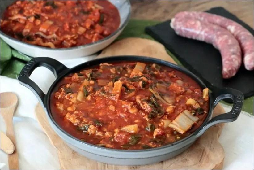 blette tomate et viande hachée