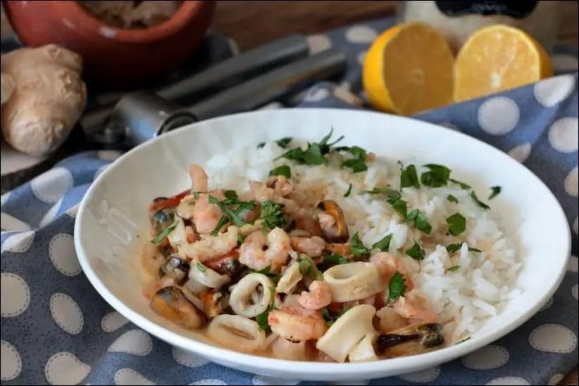 fruits de mer au lait de coco ail et gingembre