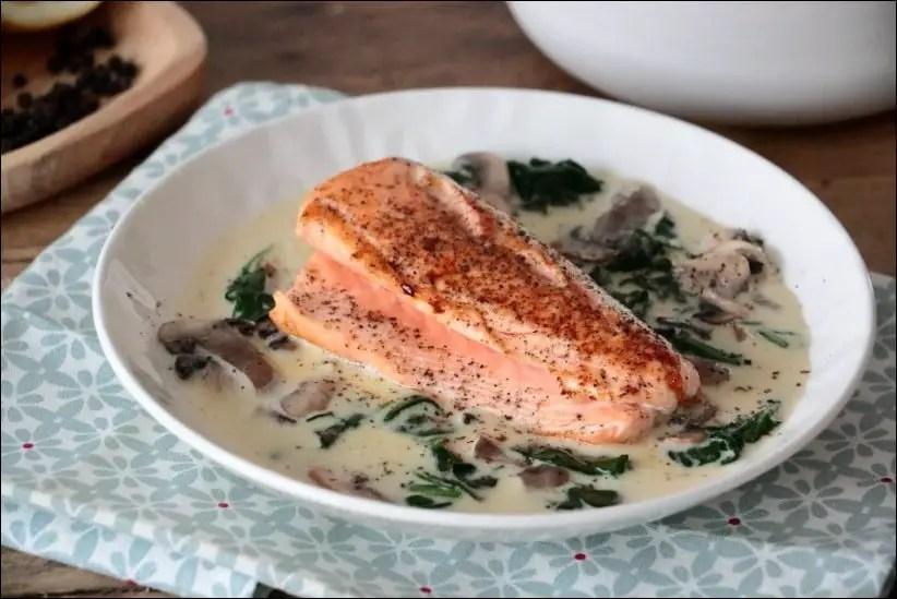 saumon au epinard frais