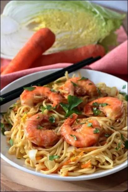 wok crevettes chou chinois