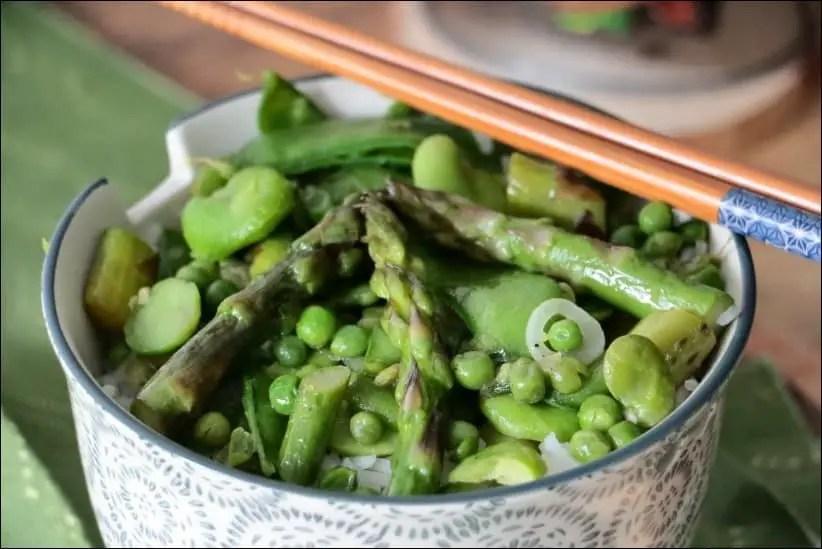 wok pois asperges et fèves