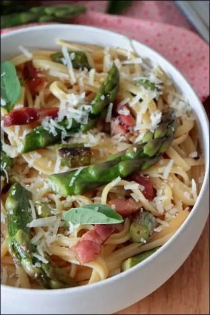 pates asperges lard parmesan