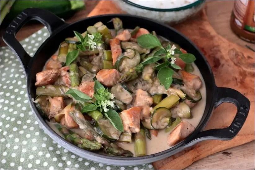 poulet au courgette et curry vert