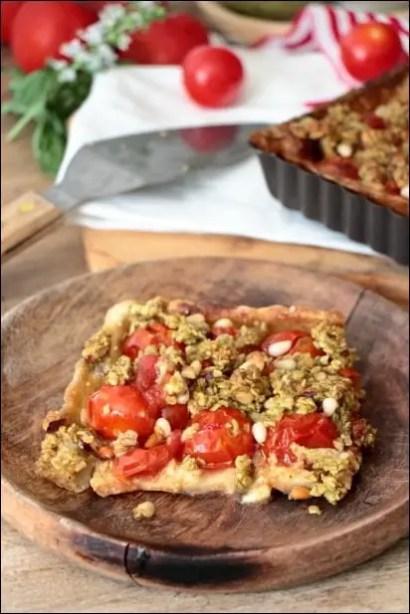 tarte tomates cerises crumble de pesto