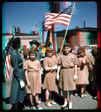 Girl Scouts in a school parade in Mount Prospect, IL circa 1957