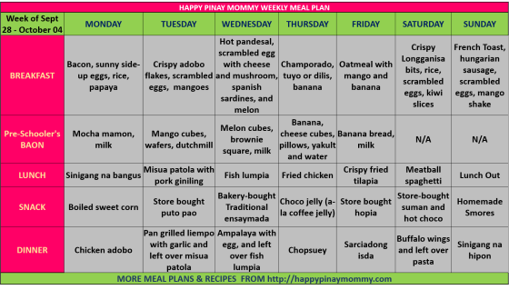 happypinaymommy weekly meal plan sept 28-oct 04 2015