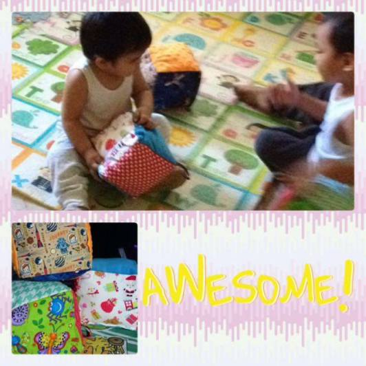 Mommy Grace's Little Boy playing with Tahi Kho's Cuddle Cubes