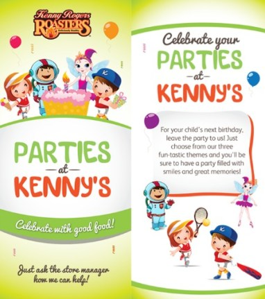 Kenny Roger's Roasters also offers kiddie party packages.