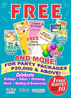 Dad's, Kamayan and Saisaki offers packages for Christening and Baptismal Parties