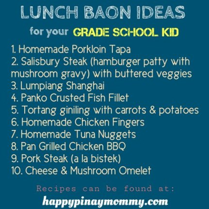 Here are some baon recipes for school lunch.